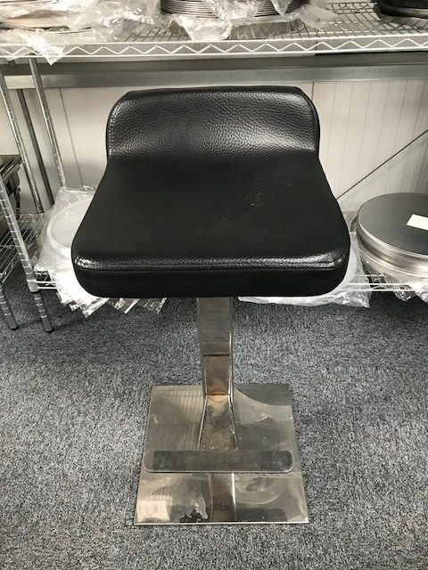 Black stools with stainless steel legs