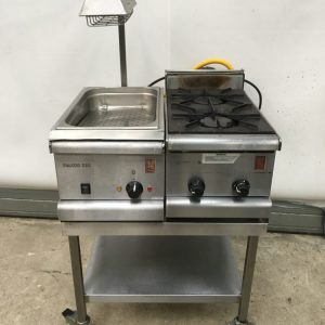 Falcon Chip Scuttle and 2 Burner Gas Top with stand