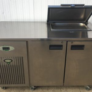 Foster Refrigerated Counter with Saladette Cut Out and Lockable Cover