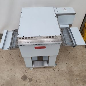 Electric pizza conveyor oven on a stand